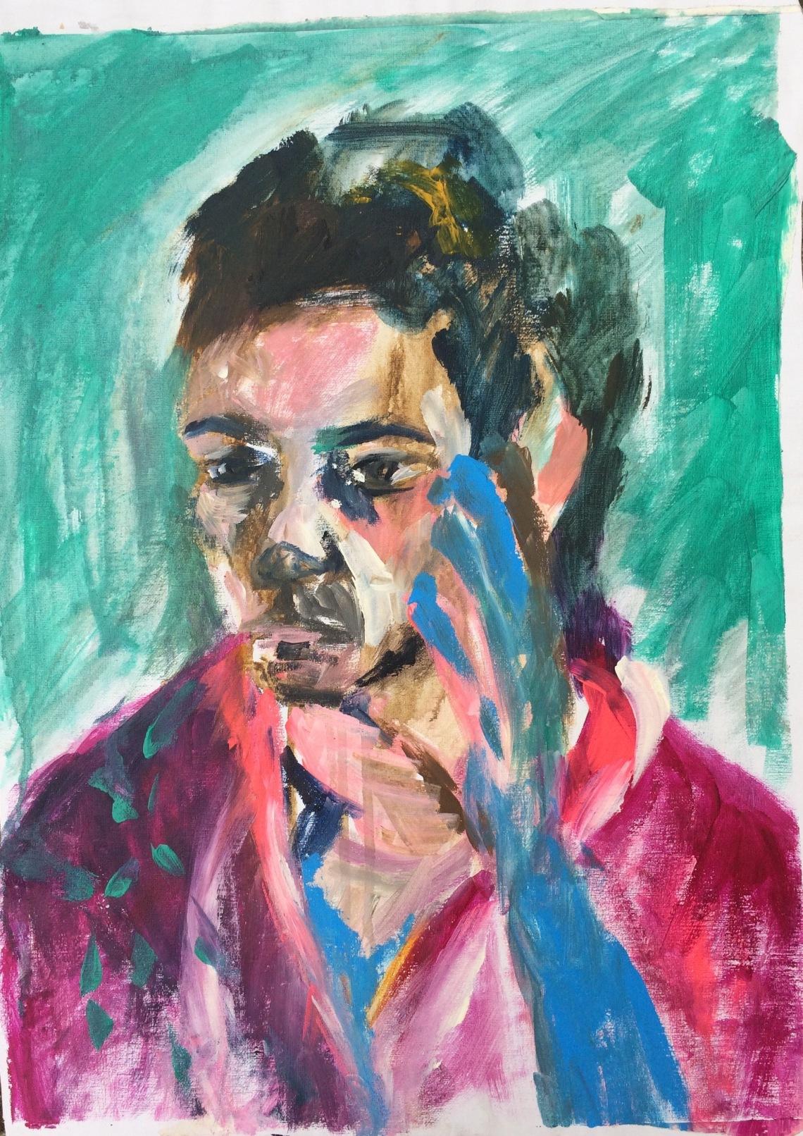 Frau mit blauer Hand